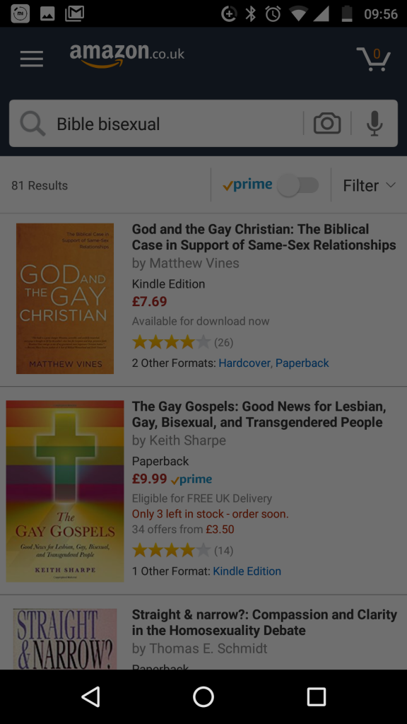 Failing to find the new bisexual 'Bible' book on Amazon, 2