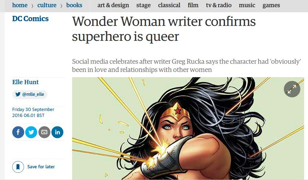 Story page of The Guardian's website: Wonder Woman is queer