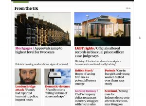 Story on bisexual prison officer on the front page of the Guardian website