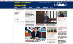 Story on bisexual prison officer on the top of the front page of the Guardian website
